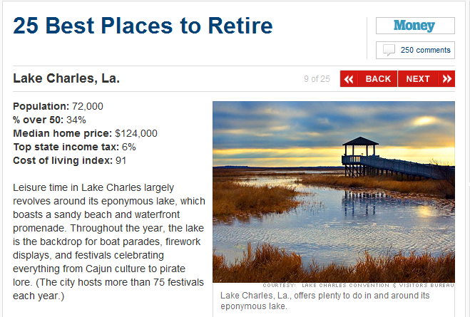 Lake Charles best place to retire