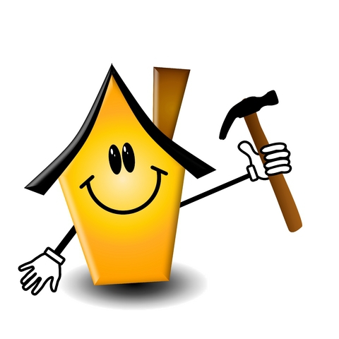 clipart of house holding hammer