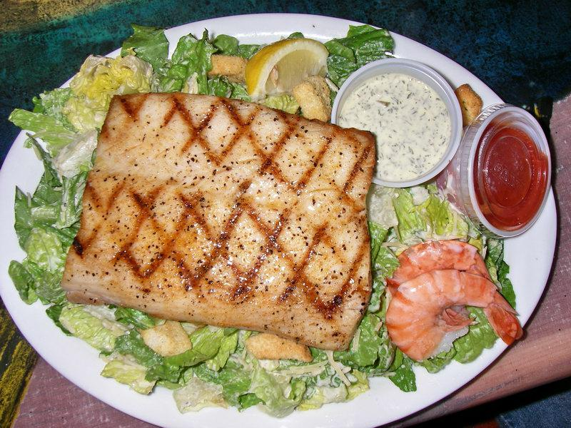 Grilled mahimahi on caesar salad how about that for Fish market maui