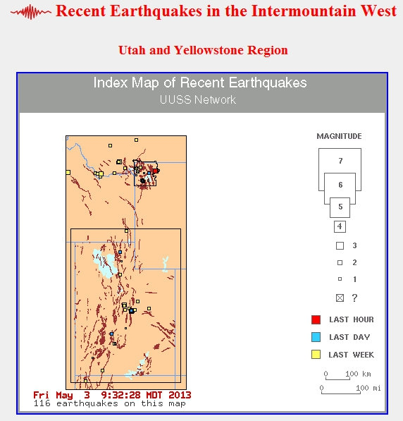weekly earthquakes Intermountain West