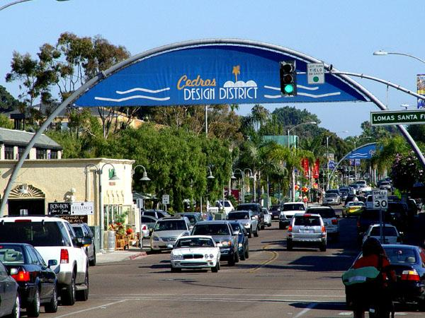 The Cedros Design District in Solana Beach is a popular shopping and dining area
