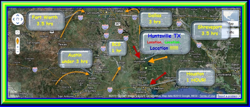 Location, Location, Location--Huntsville TX better commute to Houston than from the Woodlands on I-45, SHSU coming on strong with announcement for exciting new research facility,huntsville TX Real Estate walker county homes for sale