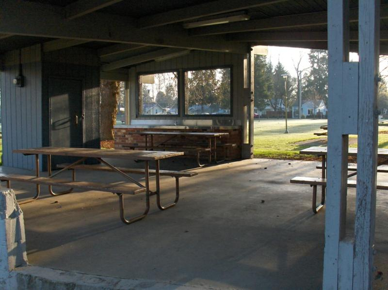 Covered kitchen/picnic area at Lions Park, Olympia WA