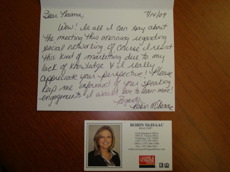 handwritten card