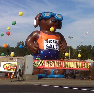 Used car big balloon car sale promotion.