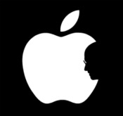 Apple logo, Steve Jobs' silhouette