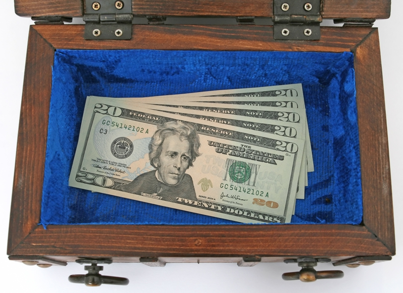 Twenty dollar bills in Blue Suade lined wooden box