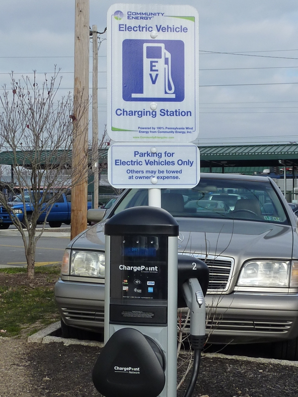 Electric vehicle parking and charging in Wayne PA