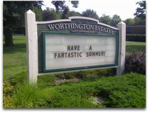 Worthington Estates Elementary School Sign
