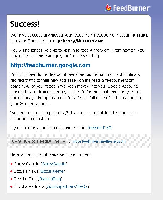 Feedburner success screen