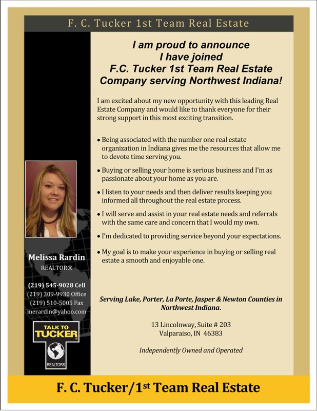 Melissa Rardin, REALTOR with F.C.Tucker 1st Team Real Estate Serving Northwest Indiana.