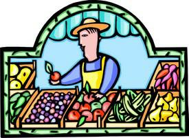 grocer with vegetables