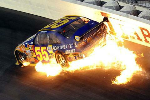 Michael Waltrip catches fire on Lap 75 but walks away unscathed at NASCAR's Darlington race on Saturday, May 10, 2009.  Photo courtesy of FoxSports.com.