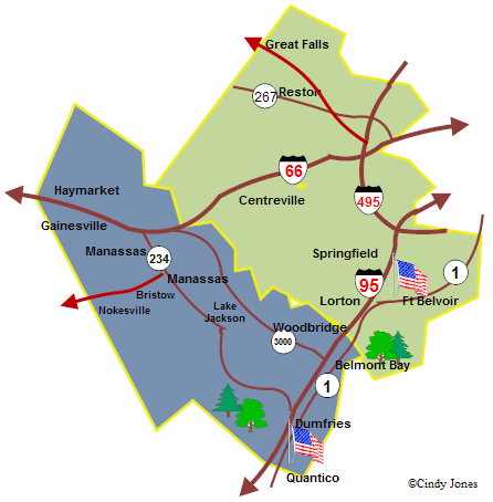 Prince William and Fairfax County Map