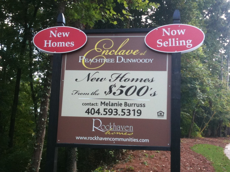 Enclave at peachtree dunwoody new homes sandy springs for New home sign