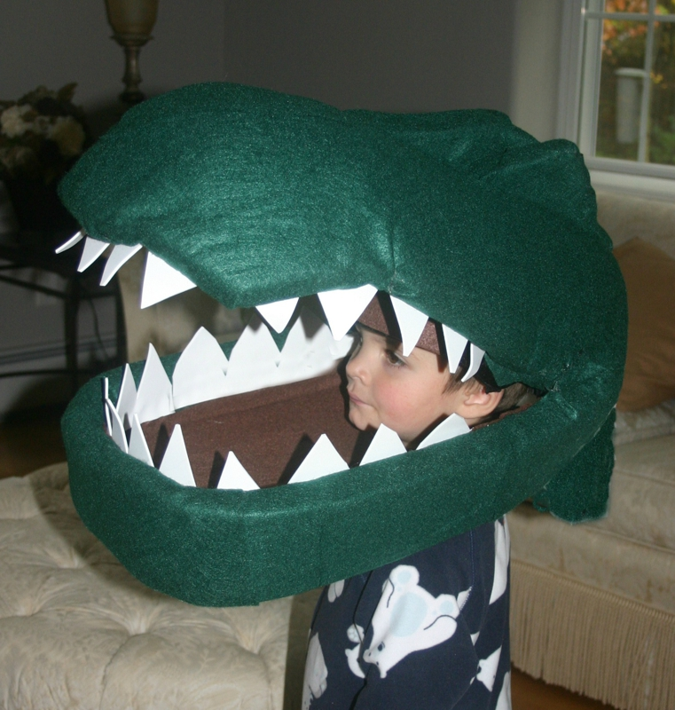 dino head covered with felt