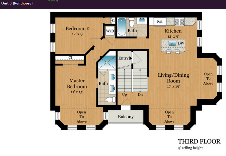 1801 13th St NW DC PH Unit 3rd floor layout