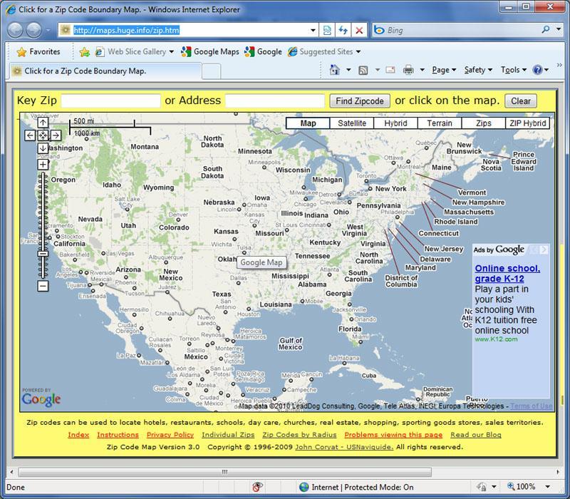 Google ZIP Codes vs Maptitude - Google Maps ZIP Code