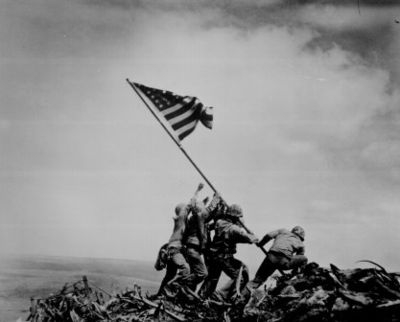 world war two flag raising photo
