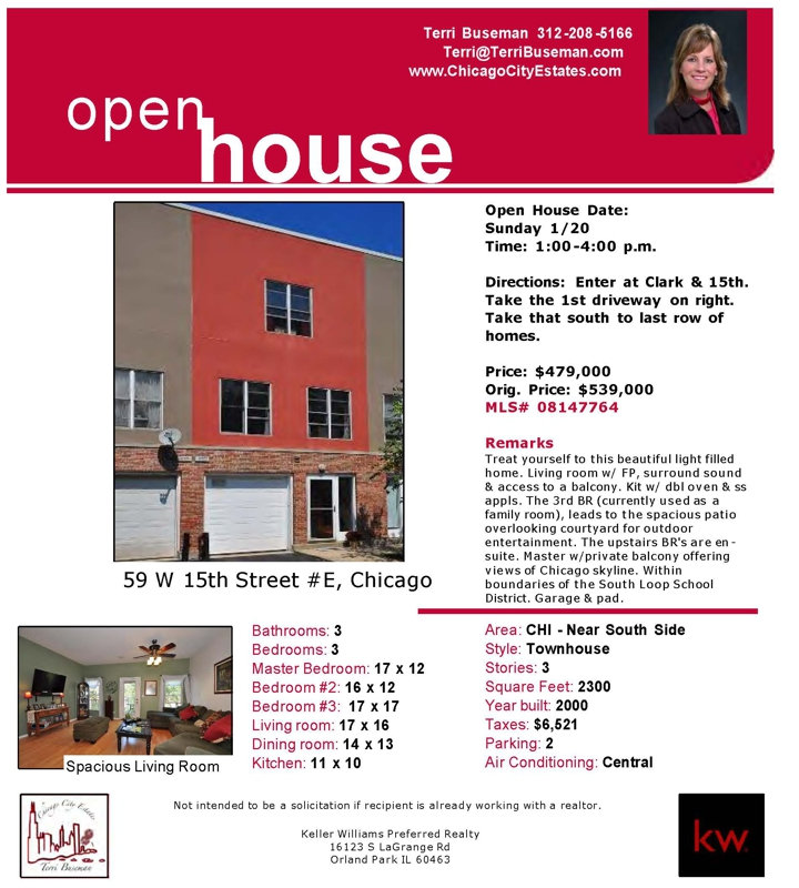 Chicago South Loop Open House 59 W 15th E Townhome 1-4 p.m.