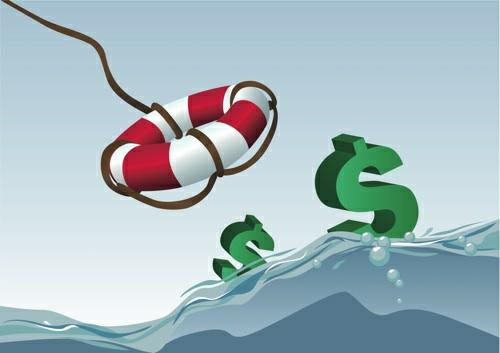 rope with inflatable flotation device into sea of dollars