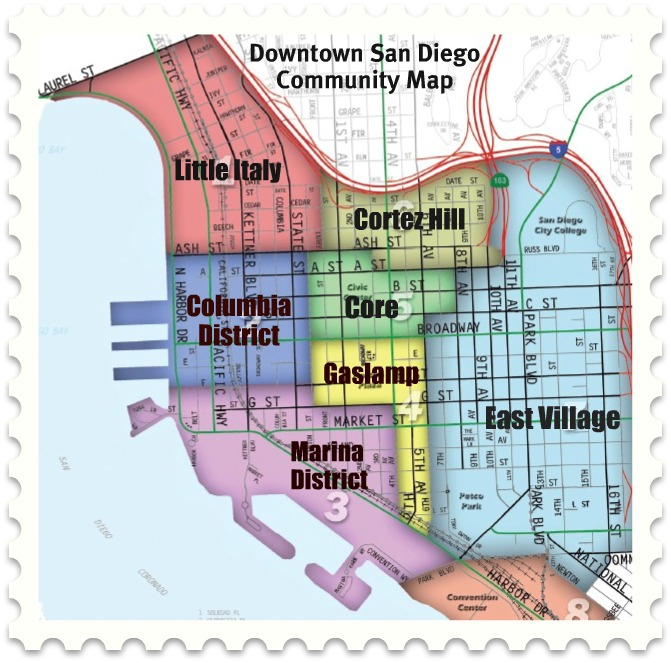 San Diego Map Downtown.Map Of Downtown San Diego Communities
