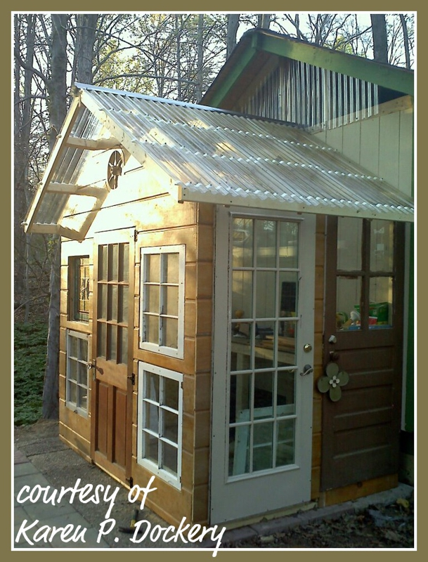 reuse and repurpose a garden shed made out of salvaged building materials
