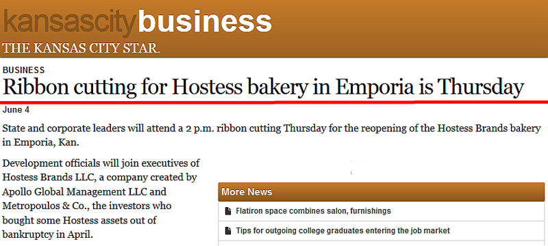 Twinkies Hostess Bakery per Kansas City Star