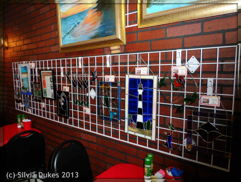 Silvia Dukes Stained Glass at Leslie's Bistro