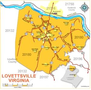 Map of Lovettsville, Virginia 20180