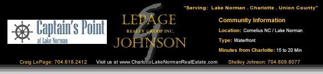 Captain's Point Homes for Sale Lepage Johnson Realty Group Cornelius NC Lake Norman Area