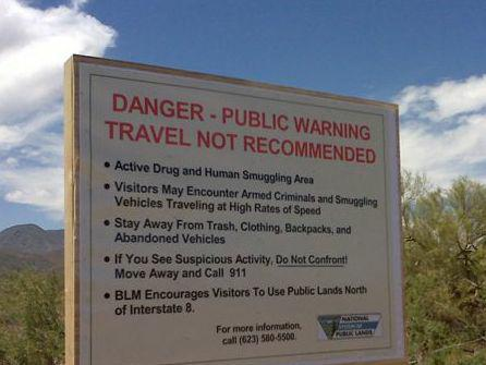 Public Warning, Illegals south of I-8 in Arizona