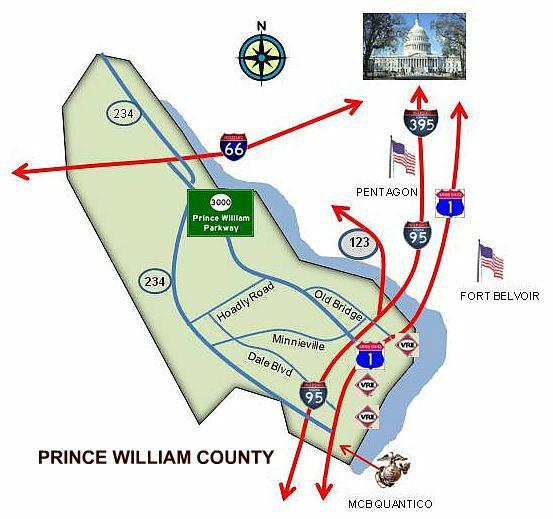 Map of Prince William County VA