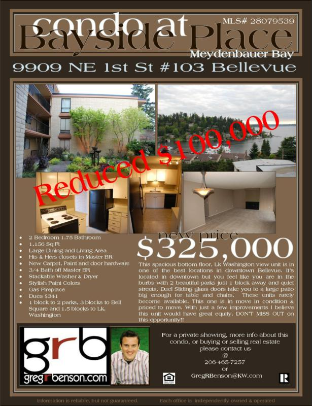 Downtown Bellevue Lake Washington View condo for sale