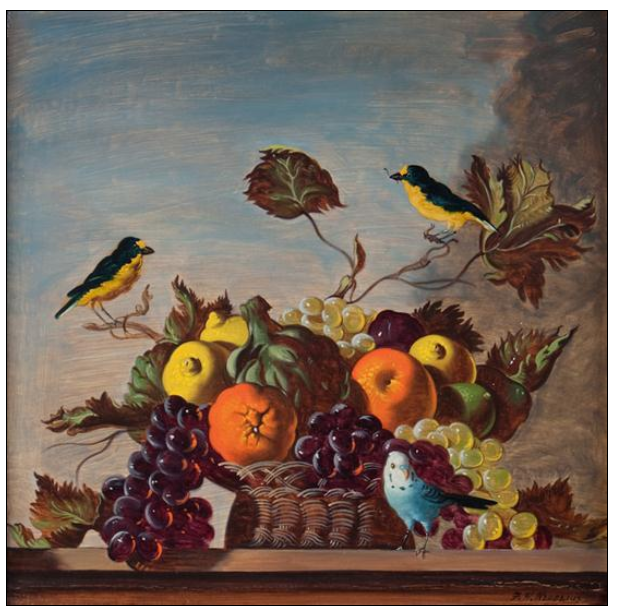 Franklin H. Redelius Still Life with Fruit, Basket, and Birds