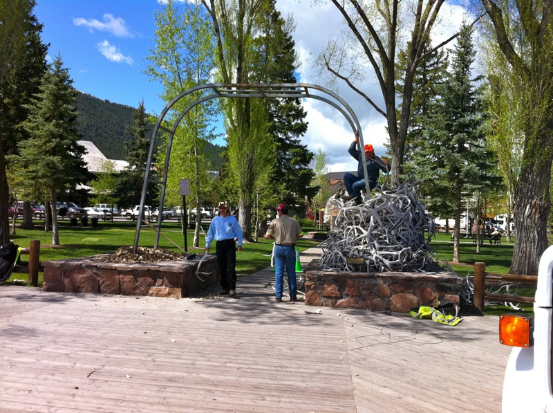 Taking down the antler arch in Jackson Hole