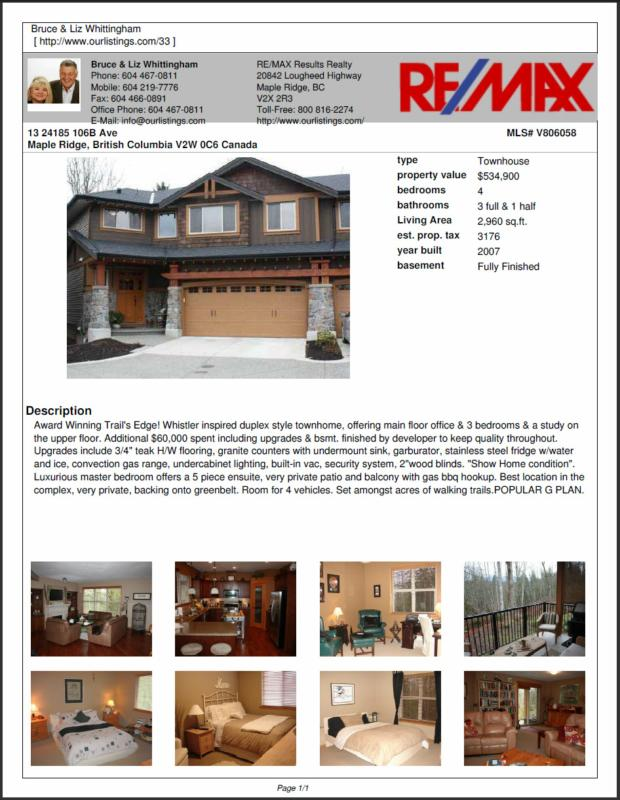 The Whittingham Team Sold #13 24185 106B Ave Maple Ridge BC V2W 0C6
