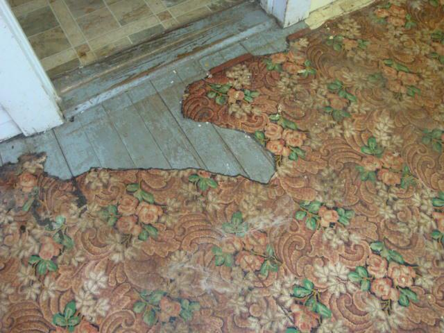 Linoleum in a pattern that was pretty and servicable Floor