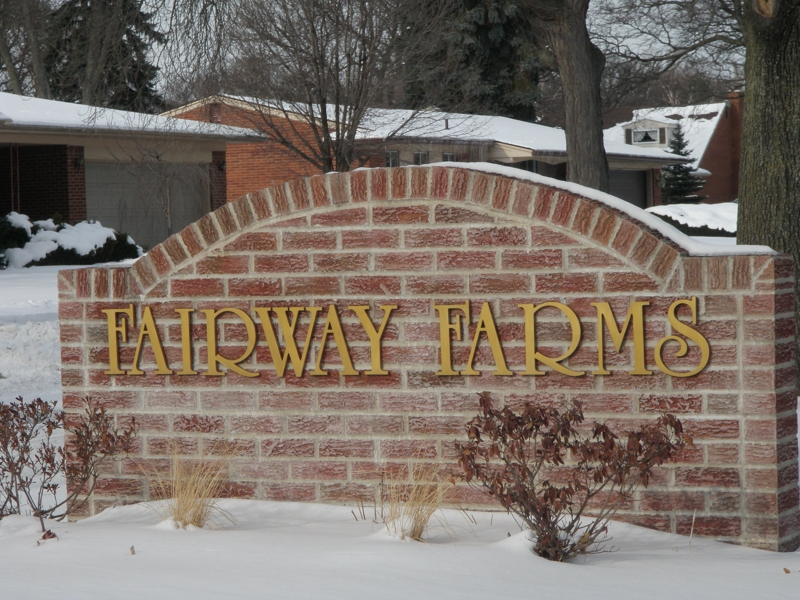 Fairway Farms Livonia Michigan entrance sign