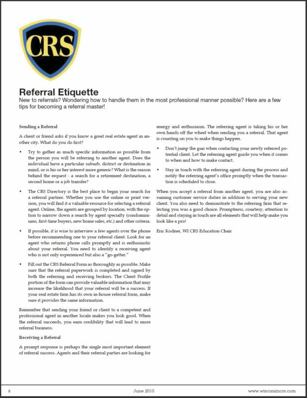 "Wisconsin CRS Chapter newsletter - Article ""Referral Etiquette"" by Eric Kodner"