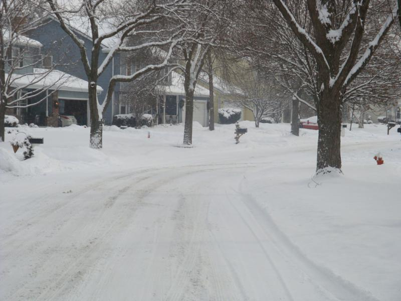 A snowy street in Brookdale
