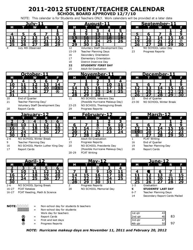 Pasco County Schools Calendar 2022 23.Pasco County Florida School Calendar For 2011 2012