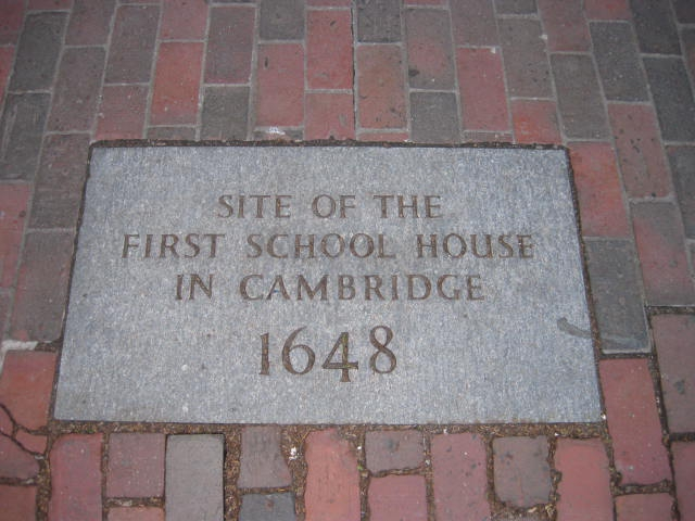 Plaque showing the site of the first school house in Cambridge Mass
