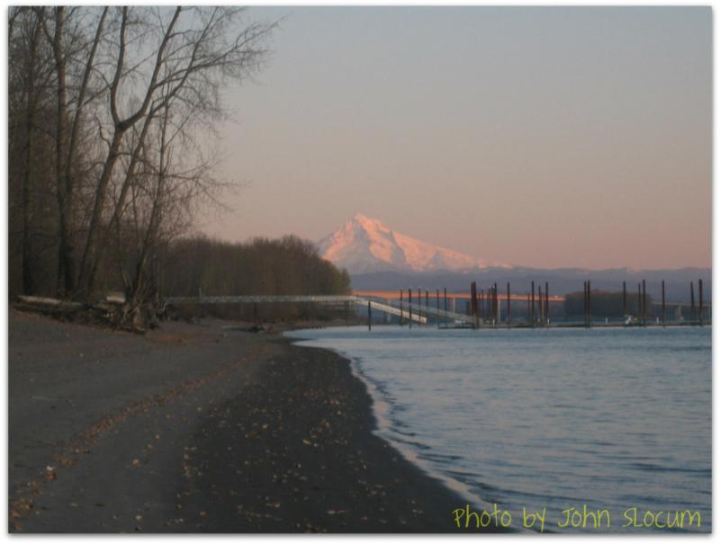 Winter Scene with Mt. Hood and the Columbia River in Wintler, Vancouver Washington 2009: photo musings of Vancouver Washington by John Slocum of REMAX Vancouver WA