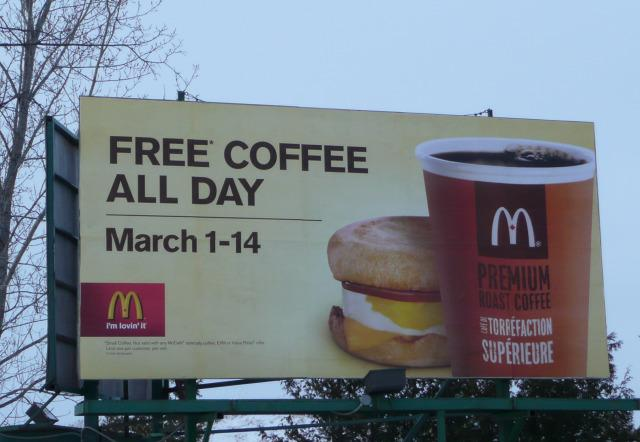 McDonalds sign offering free coffee