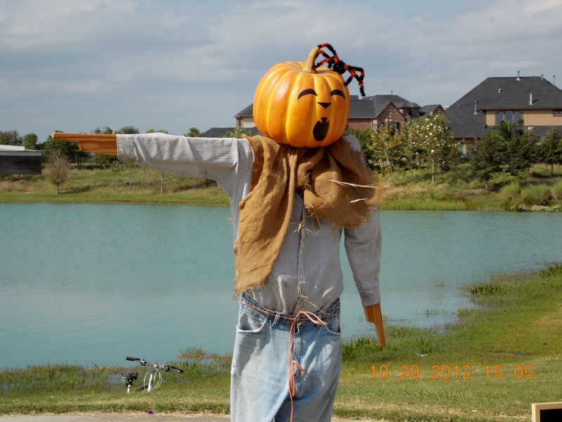 Scarecrow pointing the way to festival