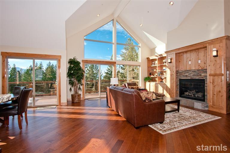 open house, 2347 cold creek, south lake tahoe, montgomery estates, custom home, views, vaulted ceiling, living area, custom bookcase, fireplace
