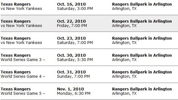 Texas Rangers Pre Game Schedule