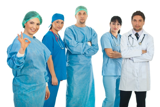 surgeon and team