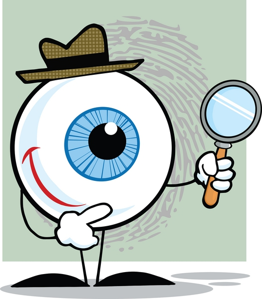 an eyeball with a hat and a magnifying glass